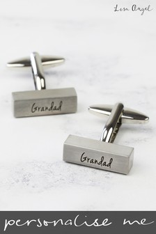 Personalised Brushed Bar Silver Cufflinks by Lisa Angel