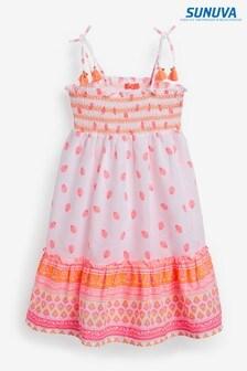 Sunuva White Neon Block Print Beach Dress