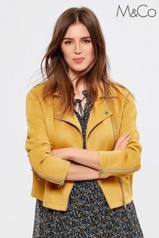 M&Co Yellow Suedette Biker Jacket