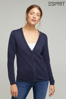 Esprit Navy Basic Cardigan With Organic Cotton