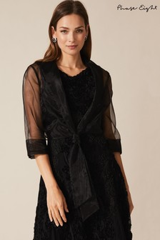 Phase Eight Black Frieda Sheer Organza Shrug