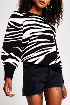 River Island Black Zebra Blouson Sleeve Sweat Top