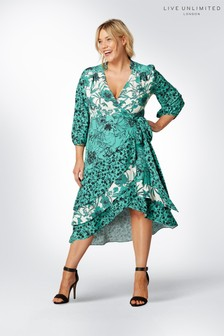 Live Unlimited Green Mixed Floral Ruffle Wrap Dress