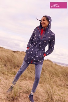 Joules Blue Golightly Printed Waterproof Packaway Jacket