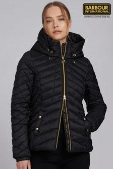 Barbour® International Black Hooded Sitka Padded Jacket