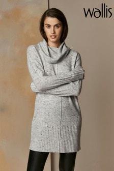 Wallis Kleid mit Wasserfallkragen in Grau
