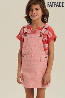 FatFace Pink Coloured Denim Pinafore Dress