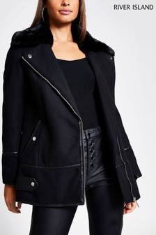 River Island Black Blocked Kiki Biker Coat
