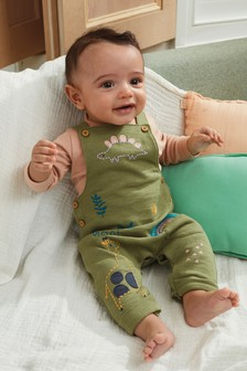 GOTS Organic Dungarees And Bodysuit Set (0mths-2yrs)