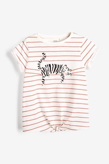 Tie Front Tiger Print T-Shirt (3-16yrs)