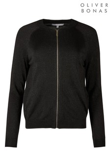 Oliver Bonas Expedition Sparkle Black Knitted Bomber Jacket