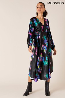 Monsoon Black Blur Print Satin Midi Dress