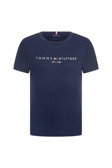 Boys Navy Organic Cotton Logo T-Shirt