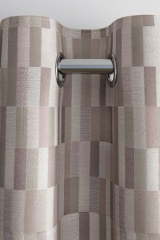 Jacquard Blocks Eyelet Lined Curtains