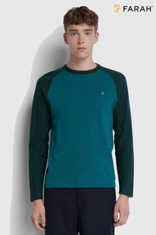Farah Blue Redington Raglan Long Sleeve T-Shirt