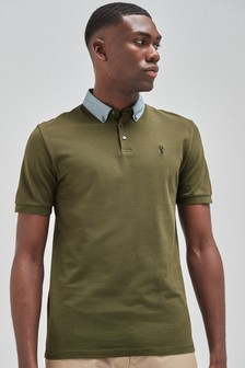 Checked Woven Collar Regular Fit Polo