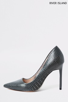River Island Grey Triffle Square Throat Court Shoes