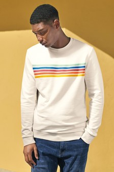 Chest Stripe Crew Neck Sweatshirt