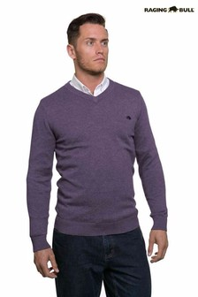Raging Bull Purple Signature V-Neck Sweater