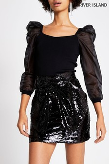 River Island Black Sequin Bettina Bow Mini Skirt