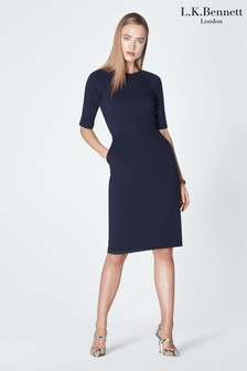 L.K. Bennett Blue Liya Jersey Dress