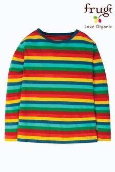 Frugi Organic Long Sleeve Top In Rainbow Stripe