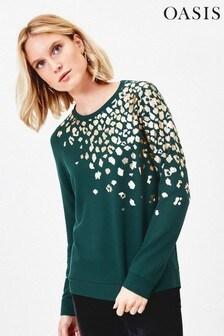 Oasis Green Foil Animal Sweater