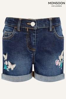 Monsoon Blue Butterfly Denim Shorts