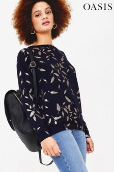 Oasis Blue Feather Foil Sweater