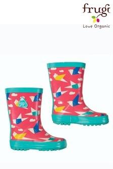 Frugi Wellington Boots In Pink Origami Birds Print