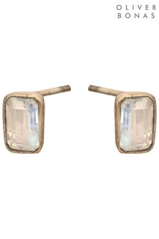 Oliver Bonas Clear Quartz Rectangle Gold Plated Stud Earrings