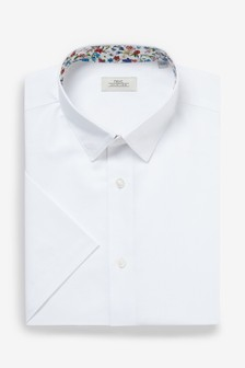 Cotton Linen Floral Trim Shirt