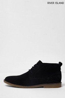 River Island Black Bandit Suede Desert Boots