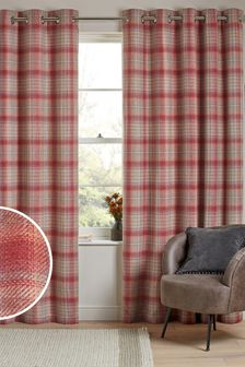 Tweedy Cranford Check Eyelet Curtains
