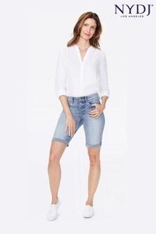 NYDJ Briella Biscayne Denim-Shorts mit aufgerollten Bündchen, Hellblau