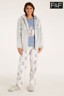 F&F Grey Tatty Pyjama Three Piece Set