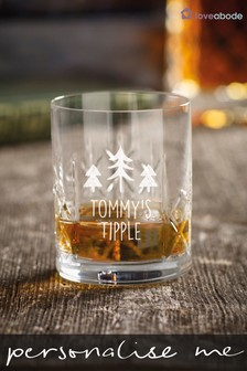 Personalised Christmas Tree Crystal Whiskey Glass by Loveabode