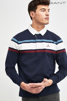 GANT Blue Striped Chest Heavy Rugger Polo
