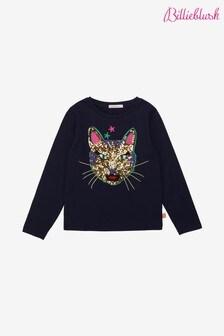 Billieblush Navy Cat Sequin Long Sleeve T-Shirt