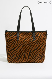 Warehouse Brown Tiger Print Shopper Bag
