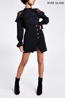 River Island Black Naples Tux Mini Skirt