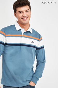 Niebieska koszulka polo GANT Heavy Rugger z szerokim paskiem