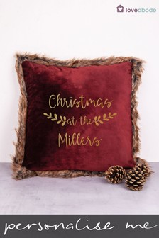 Personalised 'Christmas At The...' Cushion by Loveabode