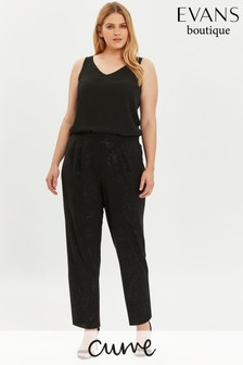 Evans Curve Black Sparkle Tapered Trousers