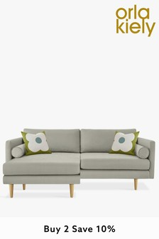 Orla Kiely Mimosa Large Chaise Sofa With Oak Feet