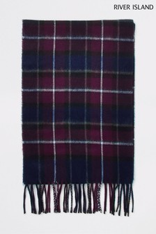 River Island Burgundy/Navy Check Scarf