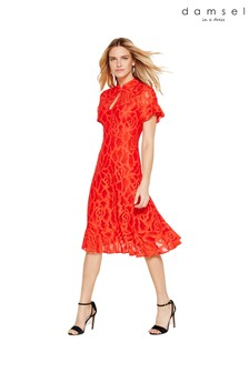 Damsel In A Dress Red Lulu Lace Fluted Hem Dress