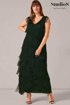 Studio 8 Green Siena Fringe Maxi Dress