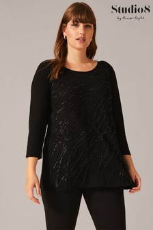 Studio 8 Black Mai Sequin Knit Top