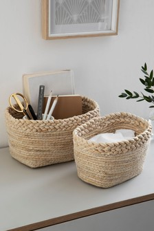 Set of 2 Blonde Storage Baskets